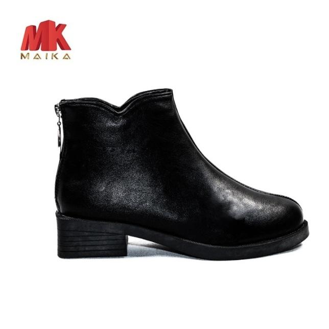 Boot Nữ Đế Bằng Cao 3cm Cổ Ngắn MK MAIKA S126 Đen thoải mái đi bộ cá tinh thời trang giá rẻ