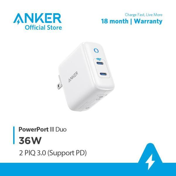Sạc ANKER PowerPort III Duo 36W 2 cổng USB-C công nghệ PIQ 3.0 - A2628