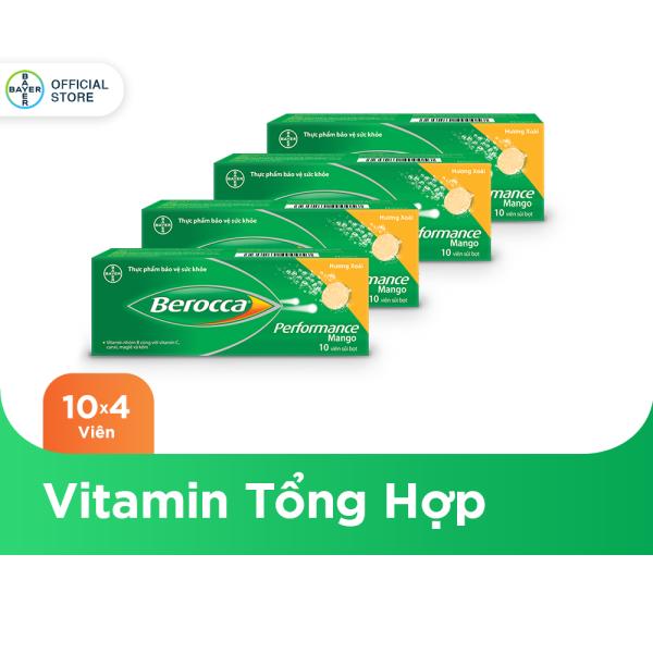 Combo 4 hộp Viên sủi bổ sung Vitamin Berocca Performance Mango 10 Viên/hộp nhập khẩu