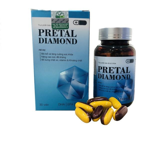 Viên Uống PRETAL DIAMOND bổ sung SẮT, CANXI, OMEGA 3, DHA, EPA và Vitamin tổng hợp cho bà bầu.Hộp 30 viên, chuẩn GMP Bộ Y Tế.