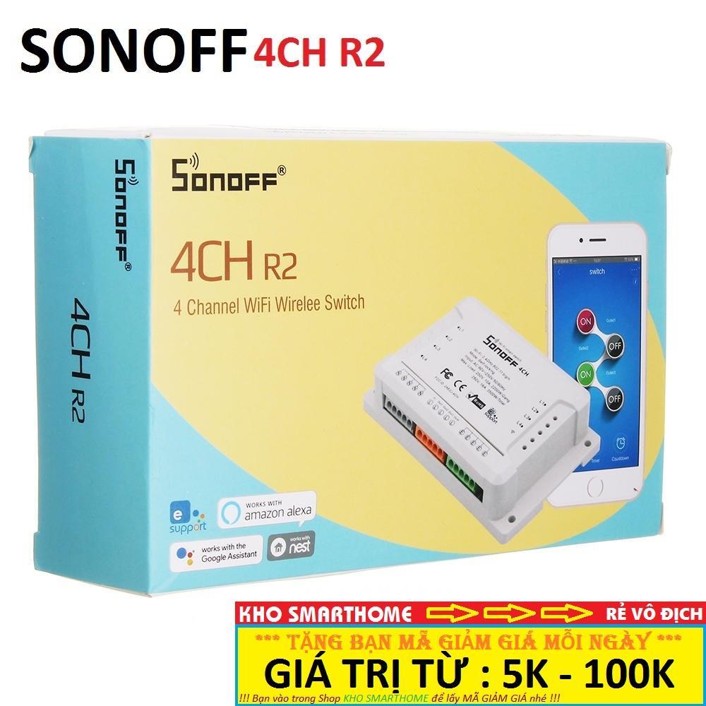 Công tắc thông minh Sonoff 4CH R2 điều khiển từ xa qua WIFI, 3G, 4G