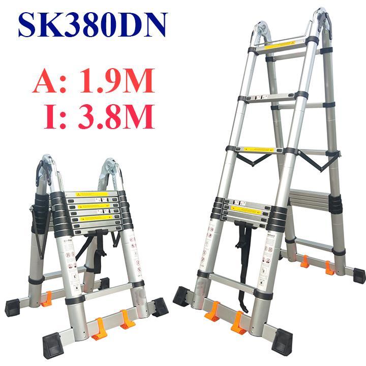 Thang nhôm rút chữ A cao cấp Sumika SK380DN - 3,8m