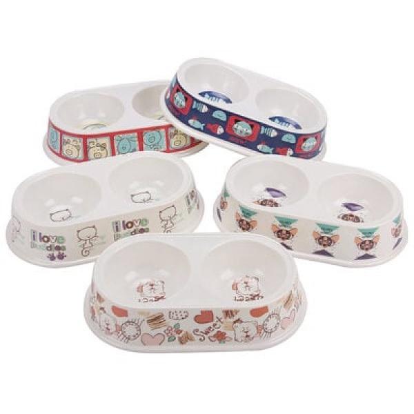 Bát ăn đôi cho chó mèo bằng nhựa BOBO Plastic Bowl