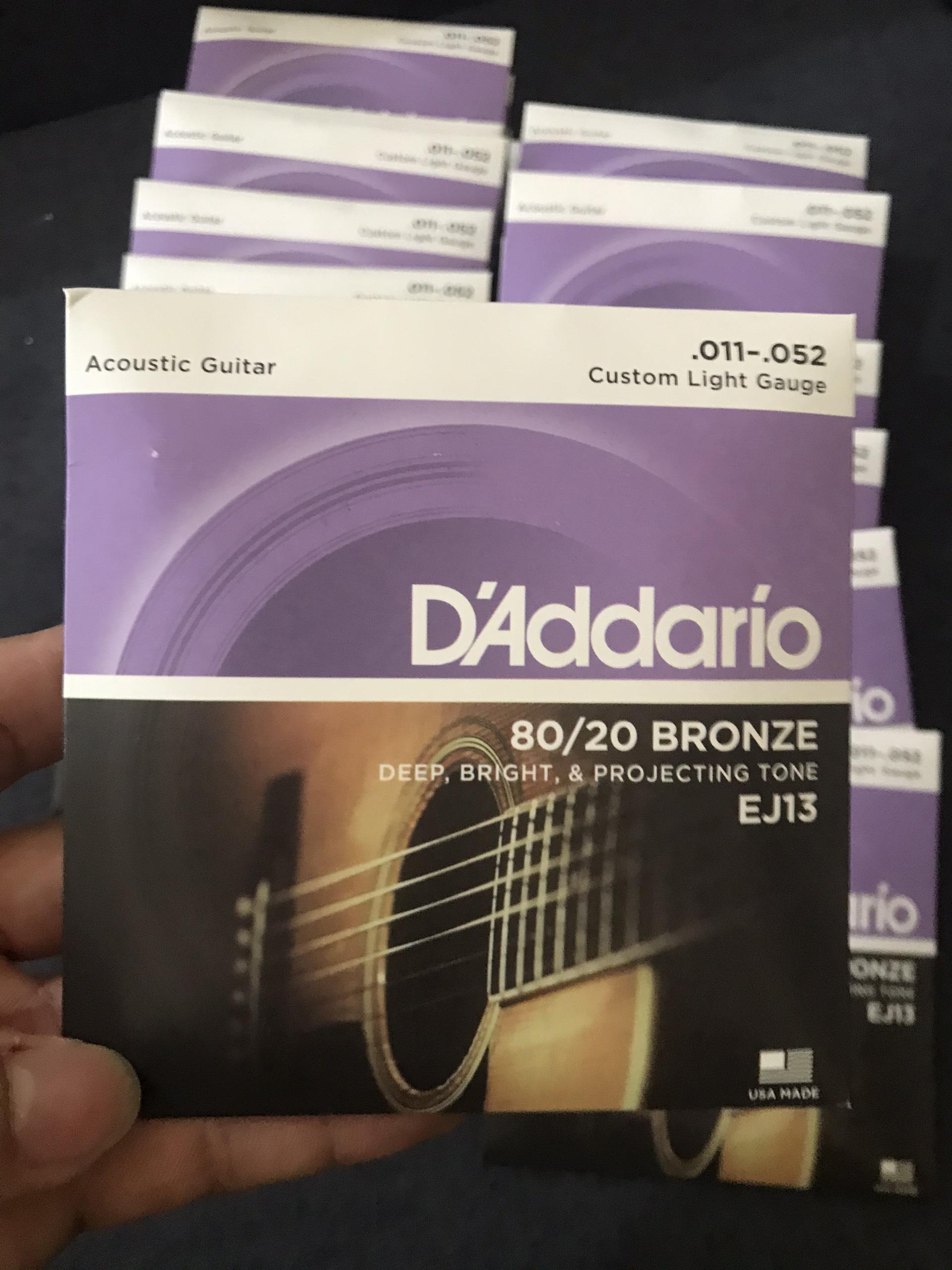 Dây Đàn Guitar Acoustic DAddario EJ13, Loại Customer Light, Thiết Kế bằng Công Nghệ Hiện Đại, Khả Năng Chống Ăn Mòn , Độ Bền Rất Cao