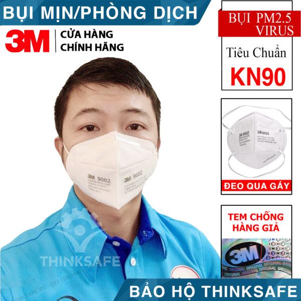 Khẩu trang 3M 9002 KN90 chống virus lọc bụi mịn - khẩu trang y tế 4 lớp thiết kế 3D cho độ kín khít tối đa - chính hãng 3M (Dây đeo qua gáy không đau tai)