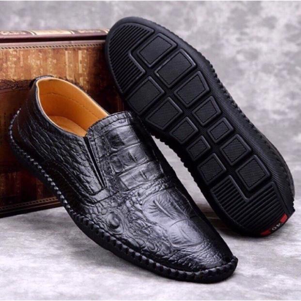 Giày mọi nam da bò/Giày nam da bò vân cá sấu-Tặng kèm lót giày da, chất da mềm được phủ nhẹ nhàng tinh tế, sang trọng,độc đáo giá rẻ