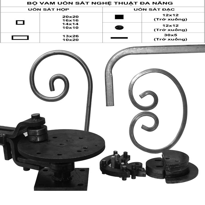 Vam uốn sắt nghệ thuật, uốn sắt hộp max 20x20mm, sắt đặc max 12mm, lập là 30mm dầy 5mm.
