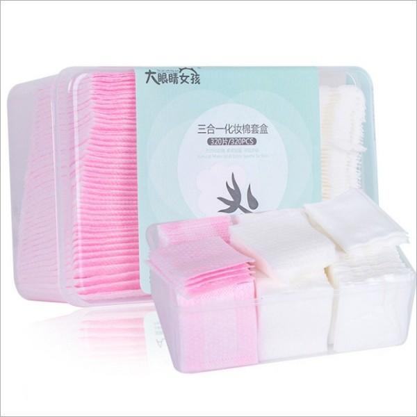 Hộp bông tẩy trang 320 miếng 3 in 1 cotton 100% mềm mịn, hộp bông tẩy trang 320 miếng tiện lợi, Hộp đựng bằng nhựa giúp dễ bảo quản và sạch sẽ nhập khẩu