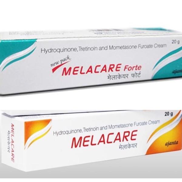 - Melacare vàng: Hàm lượng Hydroquinone  2%, nhẹ hơn xanh, dùng được cho tất cả các loại nám và tàn nhang nhẹ, mới chớm, nám điểm thưa và chân nông - Melacare xanh: Hàm lượng Hydroquinone 4% khá mạnh, dùng cho nám/ tàn nhang lâu năm, nám diện rộn