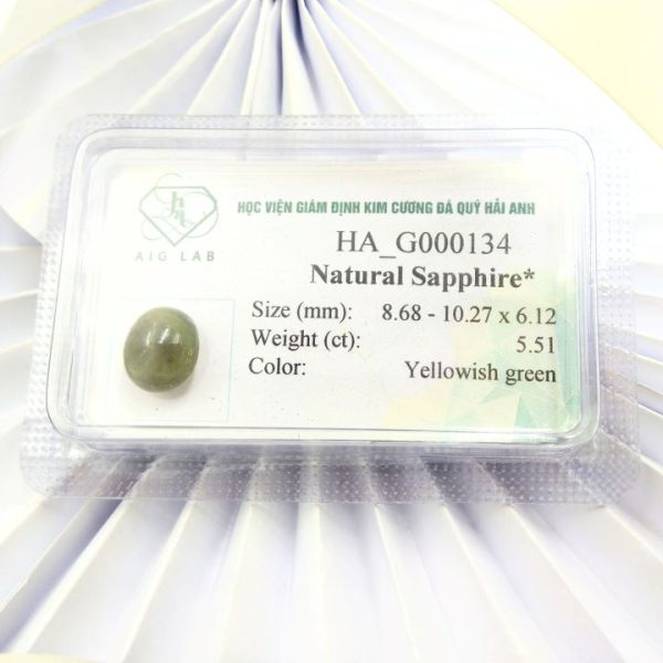 Mặt đá Sapphire lục tự nhiên - 5.51ct - Viên rời - Ép vỉ niêm phong - HA-G000134