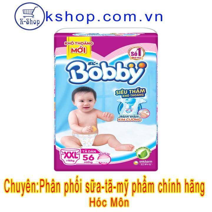 Mã Giảm Giá tại Lazada cho Tã Dán Bobby Size XXL - 56 Miếng (Cho Bé Trên 16kg)- MẪU MỚI TRÀ XANH