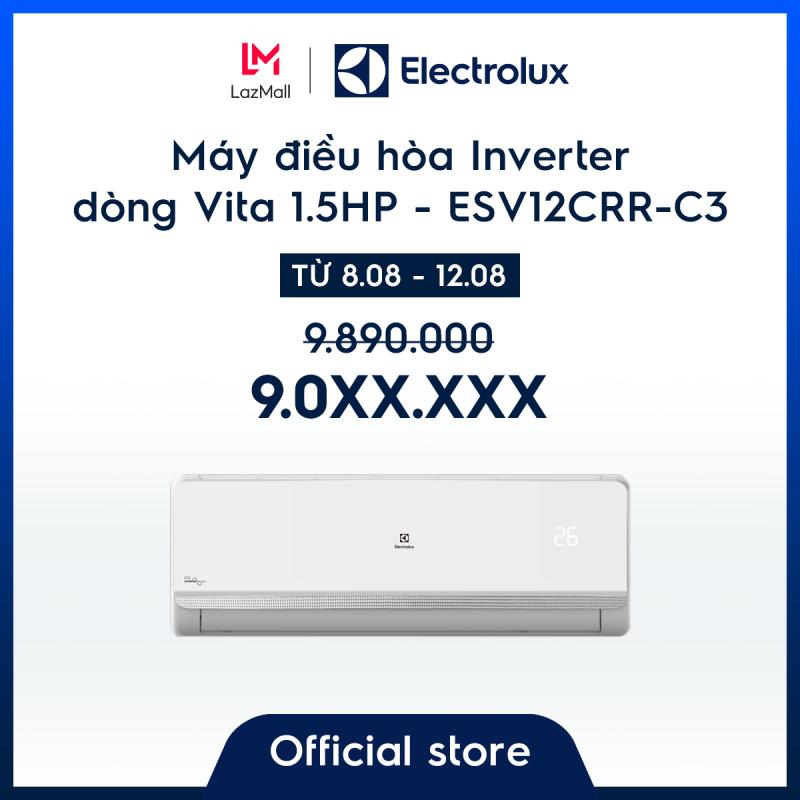 Bảng giá Máy điều hòa Electrolux Inverter 1.5HP 12000BTU ESV12CRR-C3 - Màu trắng sang trọng - Làm mát nhanh - Lọc khí và hạn chế vi khuẩn - Tiết kiệm điện – Cảm biến thông minh - Hàng chính hãng