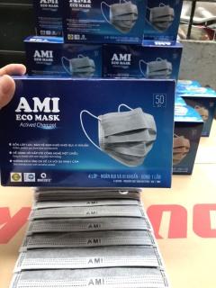 [1 hộp 50 chiếc Xám] Khẩu trang y tế AMI 4 lớp than hoạt tính kháng khuẩn ngừa dịch chống thấm nước lọc bụi thumbnail