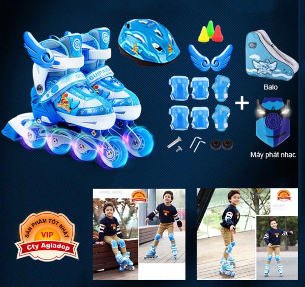 Phân phối Giày Patin siêu xịn Gupaisy Bản Male Bánh phát sáng + Bộ bảo vệ tay chân + Túi + Mũ (Giày Trượt Patanh cao cấp)