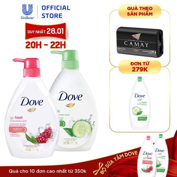Bộ 2 Sữa tắm dưỡng ẩm Dove Hương Dưa Leo Trà Xanh VÀ Sữa tắm dưỡng ẩm Dove Hương Lựu và Chanh (550mlX2)
