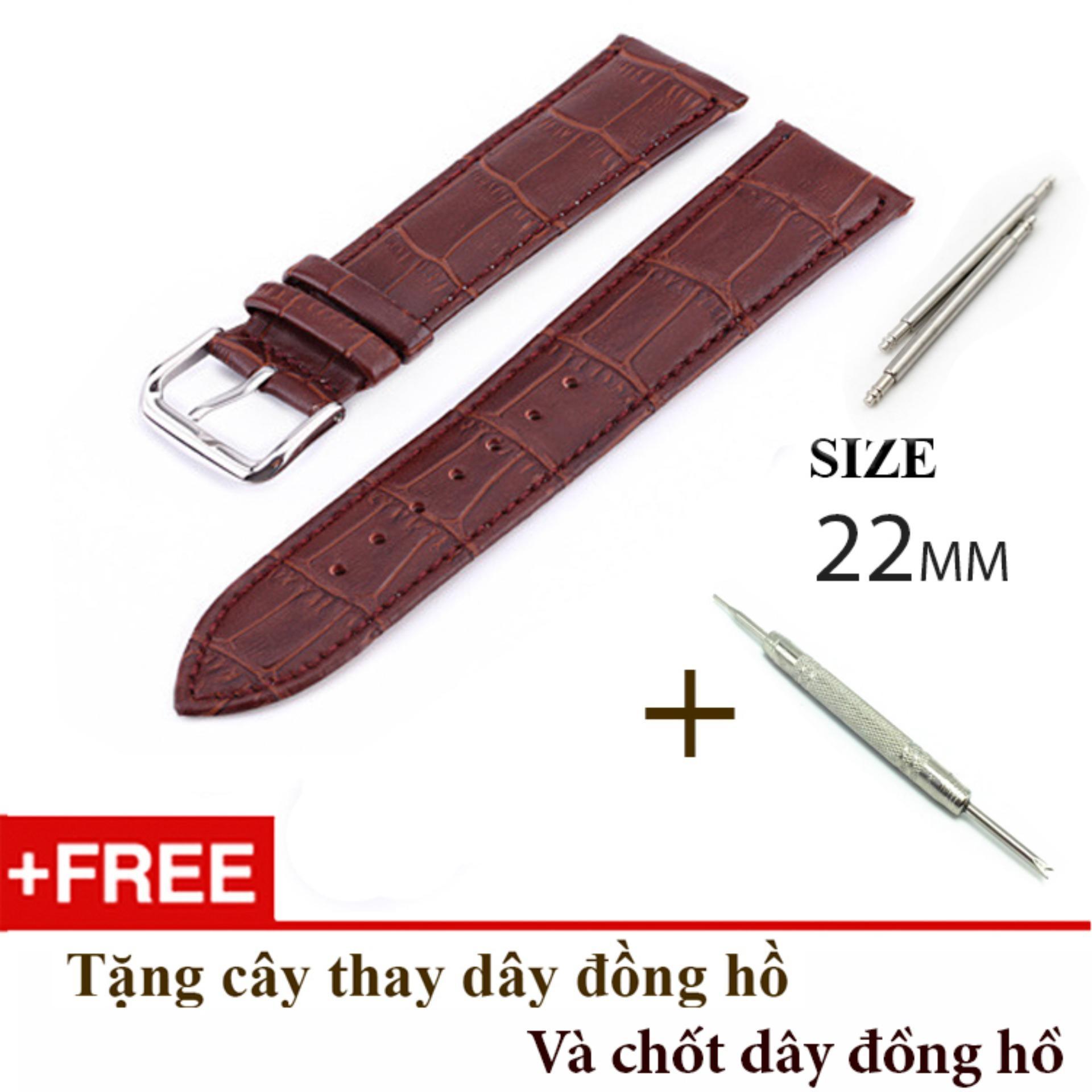 Nơi bán Dây đồng hồ da cao cấp SIZE 22mm (nâu-B802)