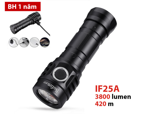 Đèn pin SOFIRN IF25A - Sử dụng UI ANDURIL độ sáng 3800lm chiếu xa 420m cổng sạc trên thân sử dụng pin 21700 (kèm theo)