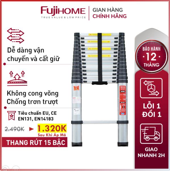 Thang nhôm rút đơn Nhập Khẩu 3,8M - 5M gấp gọn chính hãng FUJIHOME, thang rút xếp gọn gia đình đa năng Nhật Bản