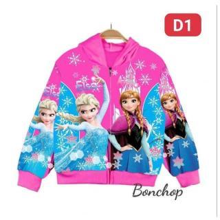 Áo khoác bé gái hình Elsa và Anna từ 9-40kg Áo khoác nữ - 100% cotton thun da cá hút mồ hôi- Hình in 3D-Hương Nhiên thumbnail