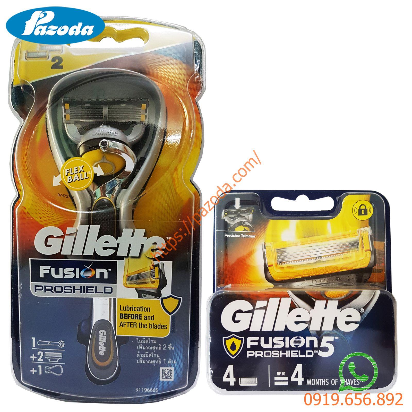 Combo dao cạo râu và hộp 4 đầu cạo Gillette Fusion5 Proshield (1 cán + 1 đầu cạo gắn sẵn và 5 đầu cạo dự phòng)