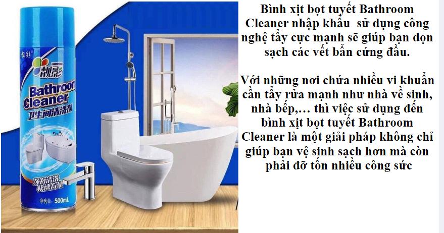 DIỆT KHUẨN TỐT] BÌNH XỊT TẠO BỌT TẨY RỬA NHÀ TẮM CỰC MẠNH BATHROOM CLEANER  SIÊU SẠCH - KHÁNG KHUẨN, KHỬ MÙI TOILET, ĐÁNH BAY VẾT Ố BẨN LÂU NĂM, CHÀ RỬA