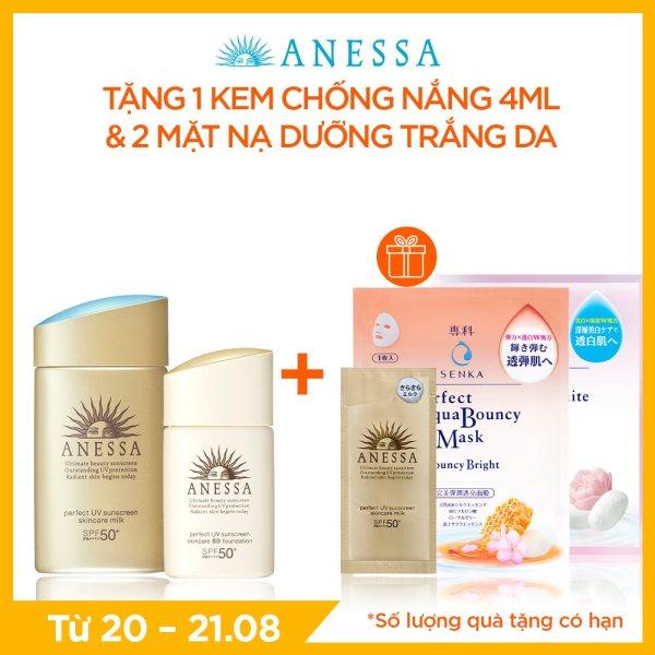 Bộ kem chống nắng Anessa dưỡng da bảo vệ hoàn hảo và kem nền tông BB