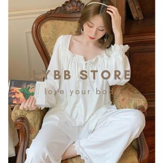 Set quần áo nữ mặc nhà chất liệu cotton đẹp, bộ ngủ tiểu thư dài tay xinh xắn, đồ ngủ nữ phong cách retro 105 120 thumbnail