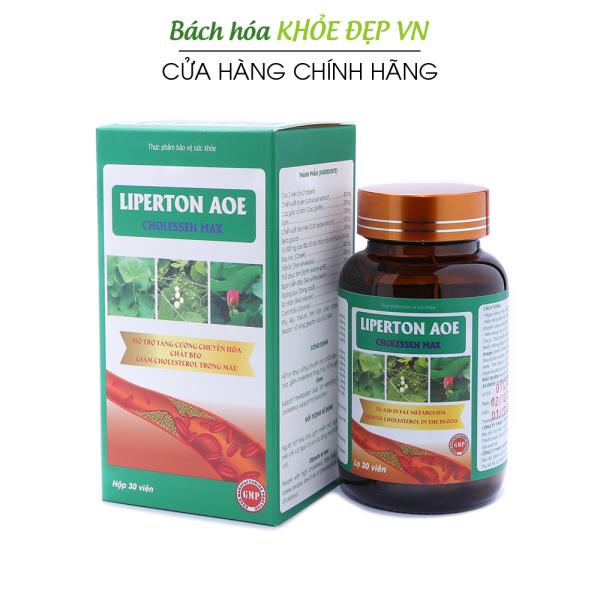 Liperton AOE giảm mỡ máu, hỗ trợ giảm béo, giảm cholesterol trong máu - Chai 30 viên