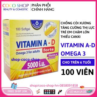 Viên Uống Bổ Sung Vitamin A D, Omega 3 tăng cường sức khỏe, nâng cao đề kháng, tốt cho mắt, da - Hộp 100 viên - HSD 2023 đạt chuẩn GPP - coco shop hn thumbnail