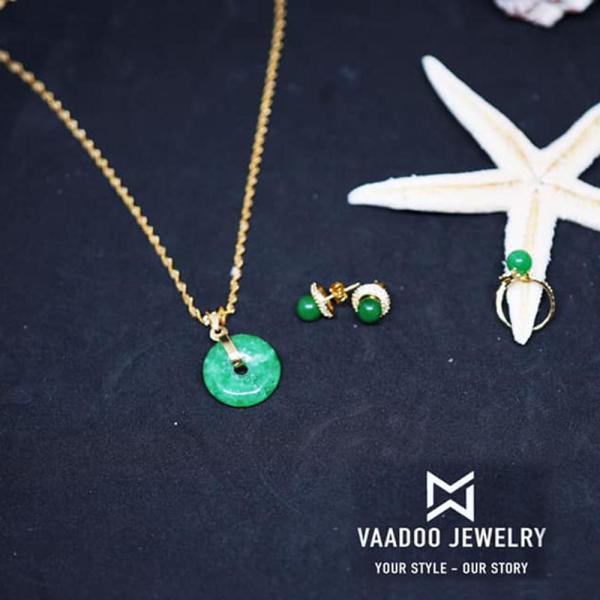 Bộ trang sức Đồng tiền cẩm thạch Vaadoo tặng 01 bộ trang sức bạc đá tím cao cấp