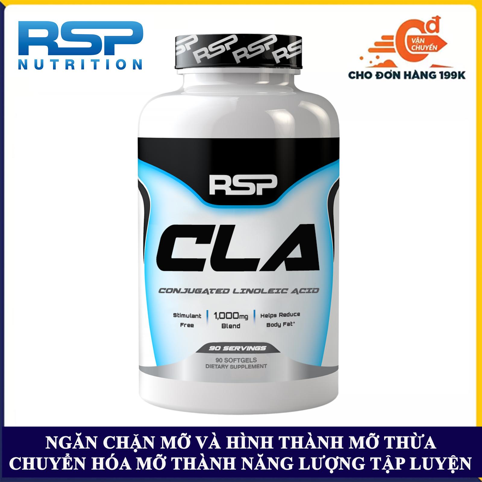 Thực phẩm bổ sung CLA của RSP hộp 90 viên hỗ trợ phân hủy mỡ và ngăn chặn hình thành mỡ thừa, xây dựng và phát triển cơ nạc, giảm huyết áp, ổn định tim mạch cho người tập gym và chơi thể thao - thuc pham chuc nang nhập khẩu