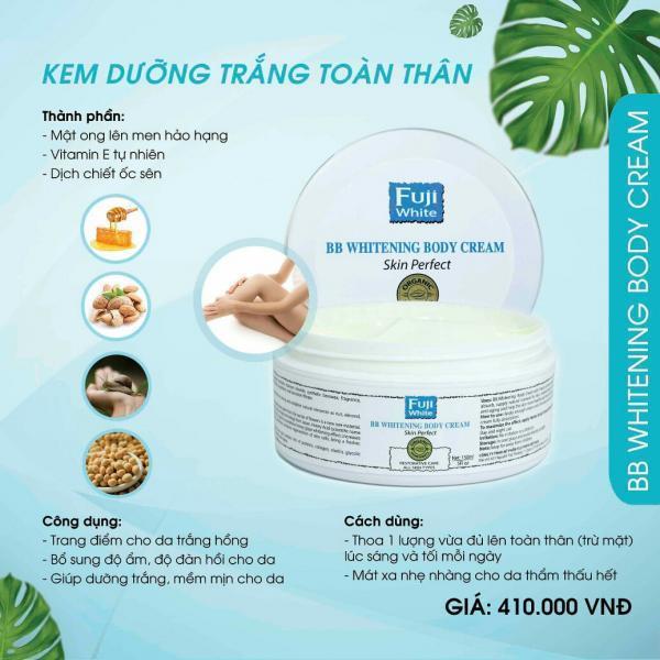 Kem dưỡng da, chống nắng toàn thân organic FUJI WHITE - CHO LÀN DA TRẮNG SÁNG, MỊN MÀNG, MỀM MƯỢT - BB WHITENING BODY CREAM (150ML) nhập khẩu