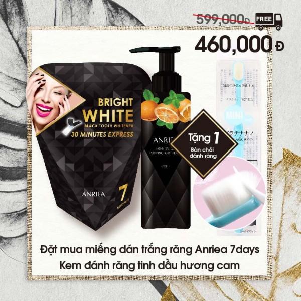ANRIEA BLACKTOOTH WHITENING - Liệu Trình 7 Ngày + Kem Đánh Răng Hương CAM tặng Bàn Chải Đánh Răng