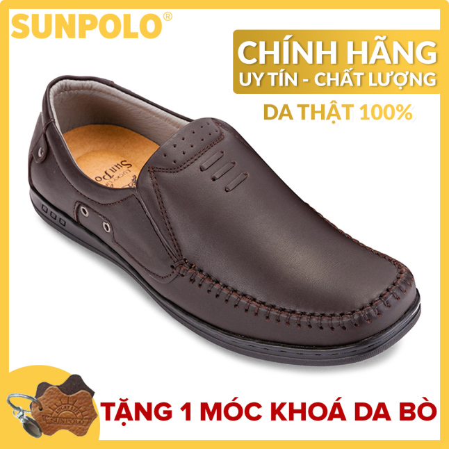 Giày mọi nam da bò SUNPOLO LS2098NRN (Nâu) - Phiên bản mới cải tiến đế giày + Tặng Móc Khóa Da Bò giá rẻ