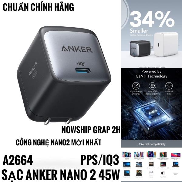 Củ sạc Anker Nano II 45W GaN II - A2664 - PD/PPS/QC 45w