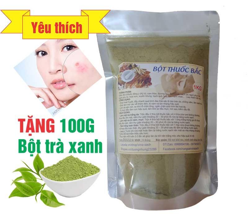 500G Bột Thuốc Bắc (Thải độc, trị nám mụn, trắng da) - Tặng 100G Bột trà xanh giá rẻ