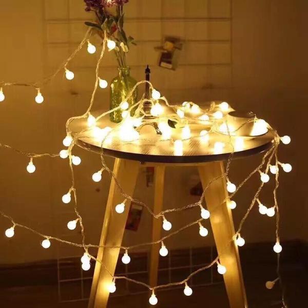 Tặng pin-dây đèn led trang trí cherry ball 3 mét 20 bóng ánh sáng vàng nắng