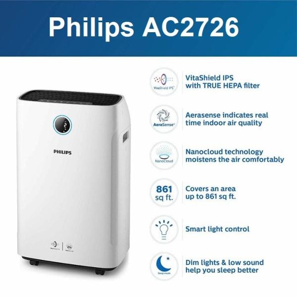 Máy lọc không khí 2 trong 1 Philips Series 3000 AC2726/00 kèm chức năng tạo độ ẩm
