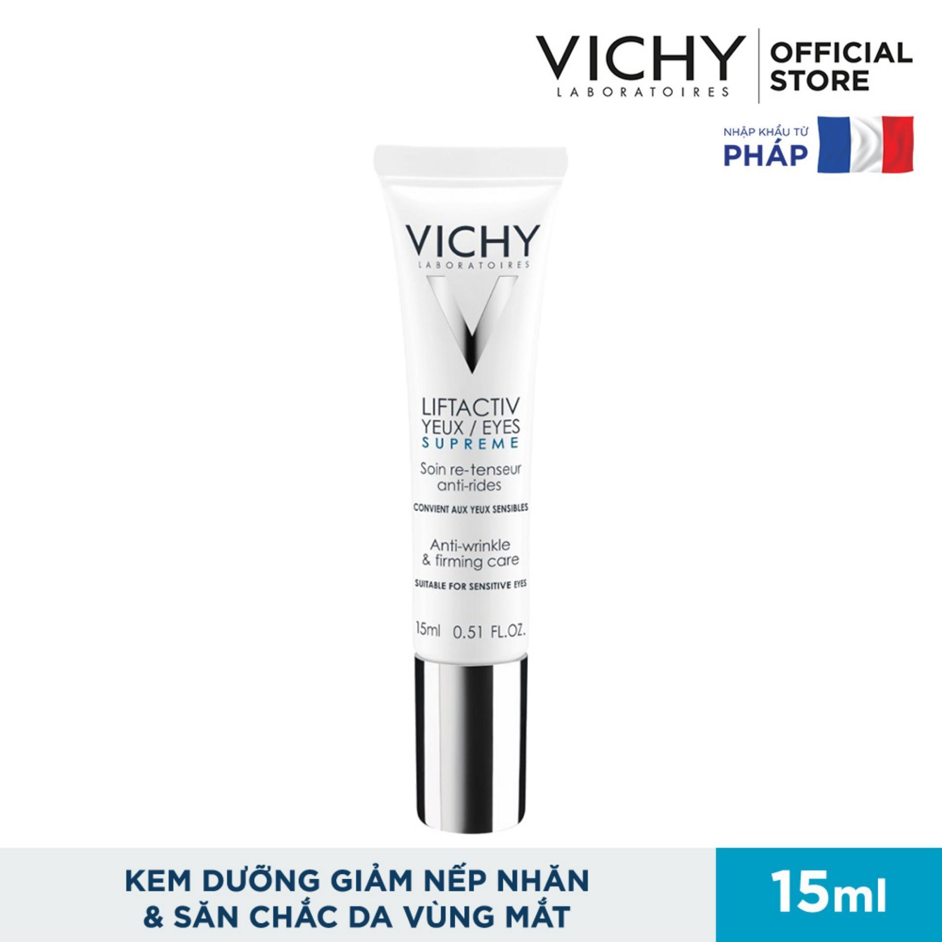 Kem dưỡng giúp giảm nếp nhăn & săn chắc da vùng mắt Vichy Liftactiv Eyes Supreme Global Anti-Wrinkle & Firming Care 15ml