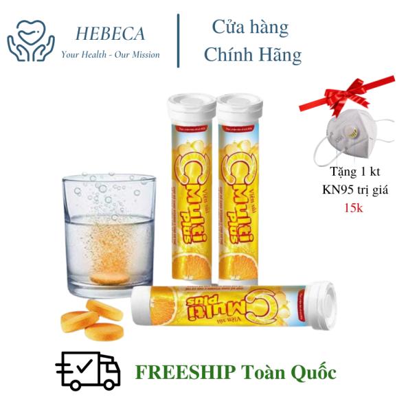 [FREESHIP + Tặng 15k] [Combo 2 tuýp] Viên sủi Vitamin C Multi Plus [HEBECA] - Tăng Sức Đề Kháng, Nâng cao Sức Khỏe, Bổ sung Vitamin C , Kẽm  và các vitamin TẶNG KÈM Khẩu Trang KN95 giá rẻ