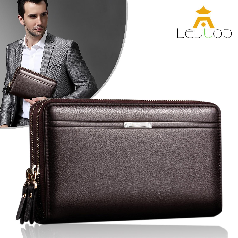 LEVTOP Men Fashion Wallet PU Leather Mens Hand Bag Business Long Clutch Purse Handbag for Phone