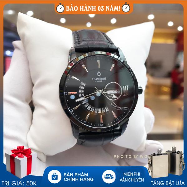 Nơi bán Đồng hồ nam Sunrise 1130SA , Full hộp , thẻ bảo hành 3 năm , Sapphire chống xước , chống nước , dây da