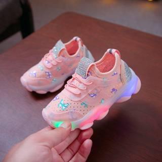Trẻ Em Mới Giày Trẻ Em Nam Nữ Bướm Pha Lê LED Sáng Thể Thao Chạy Đèn Ban Đêm Giày Sneaker Thoáng Khí
