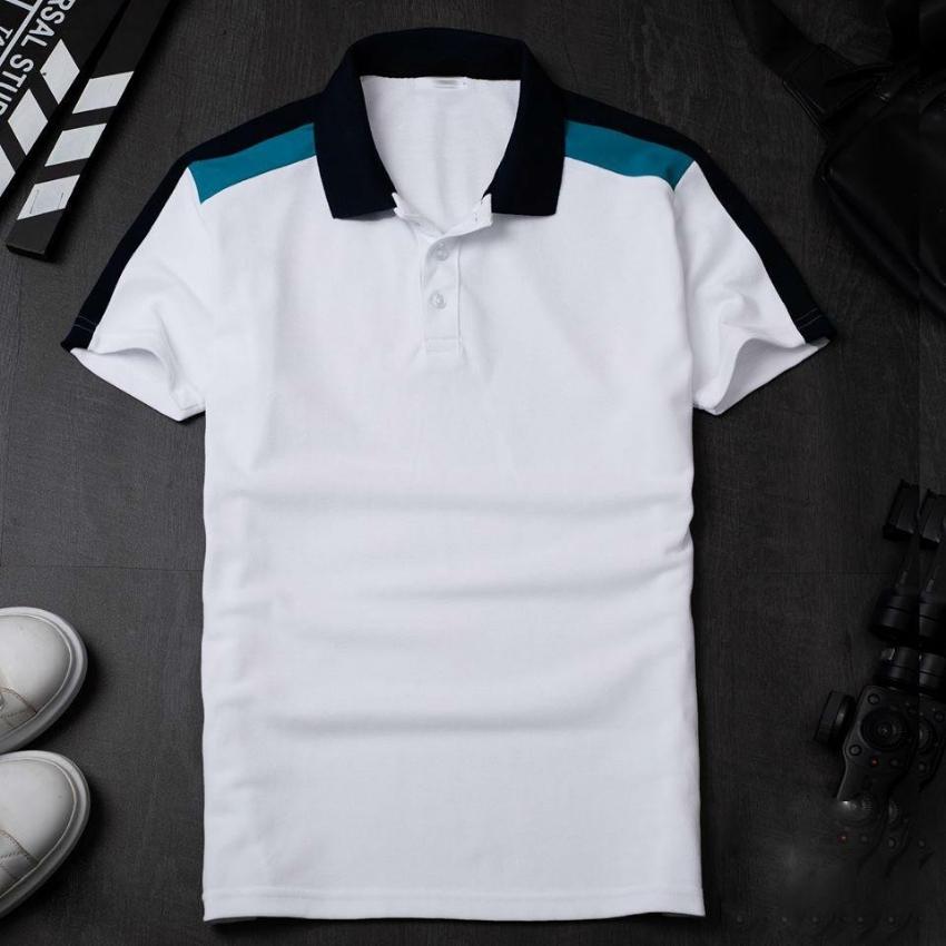Áo thun nam cổ bẻ viền vai xanh HS952 Thời trang THE MIX-UP SHOP Chất thun mềm mát, bền màu