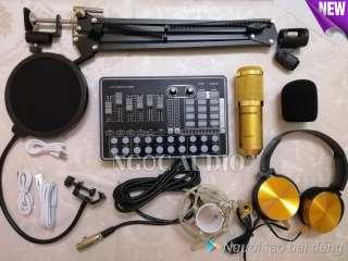 Trọn bộ Live stream thu âm Sound card H9 bluetooth và Micro BM 900 đầy đủ phụ kiện kẹp bàn màng lọc âm tặng tai nghe
