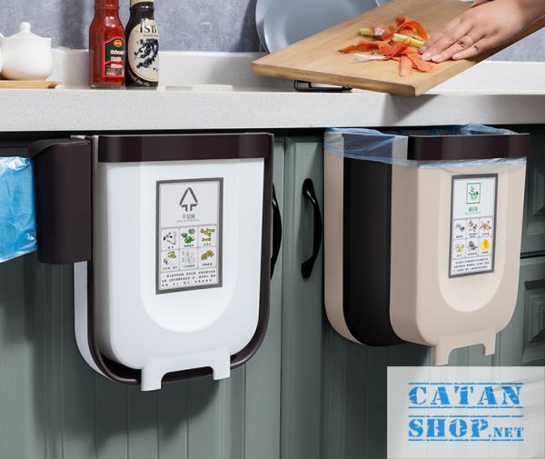 Thùng rác, Giỏ rác VUÔNG đa năng gấp gọn treo kẹp tủ bếp nhựa dẻo cho nhà bếp và xe hơi GD352-ThungracGG-Vuong