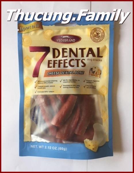 Xương nhai làm sạch răng- hổ trợ tiêu hóa giúp hơi thở thơm tho. 7 Dental- 60g/gói.