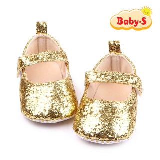 Giày tập đi cho bé gái từ 0 18 tháng tuổi quai dán tiện lợi cho bé thoải mái tập đi hoạ tiết kim tuyến màu trơn đơn giản xinh yêu Baby-S STD13 thumbnail