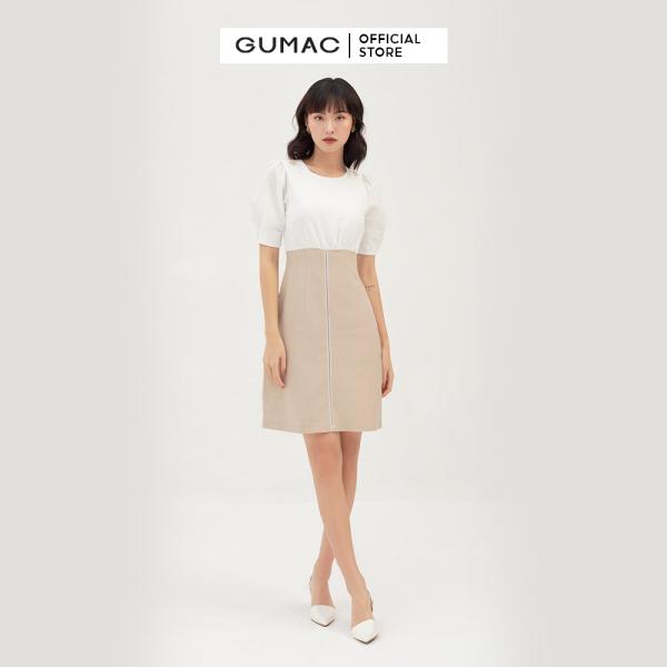 Nơi bán Váy đầm nữ đẹp  tay lỡ phối màu thời trang GUMAC mẫu mới DB392 chất Cotton Chéo cao cấp thoải mái