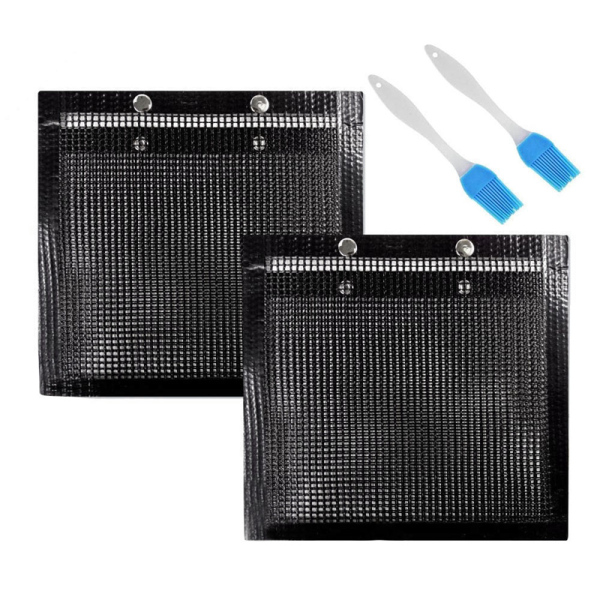 2 Pcs BBQ Grill Mesh Bag with Brush, Non-Stick BBQ Baked Grilling PTFE Bag for Outdoor Picnic Cooking Barbecue